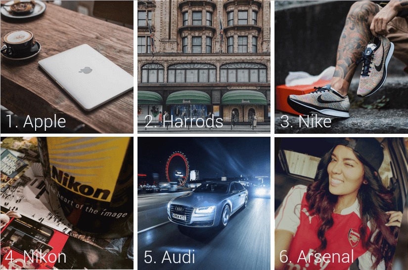 Top 6 Brands on London Instagram