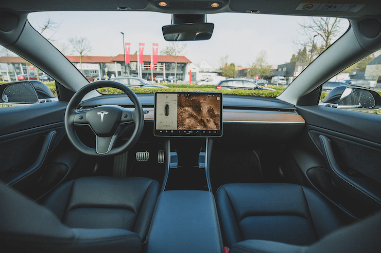 The view from the inside of Tesla