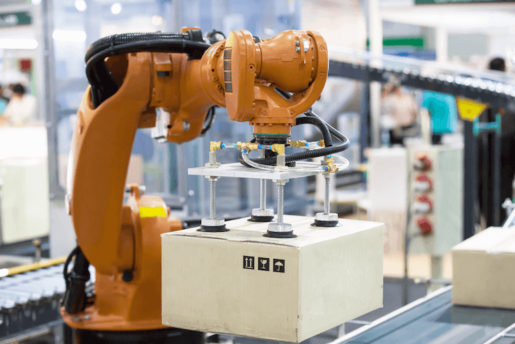 A robot works in logistics