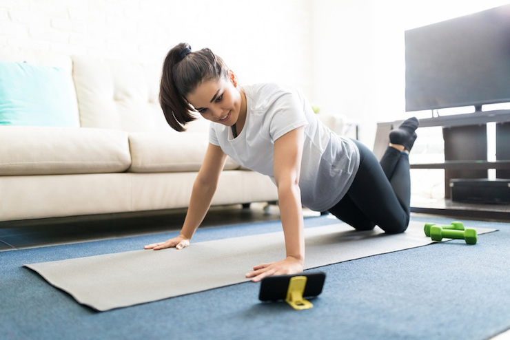 The use of fitness app from home