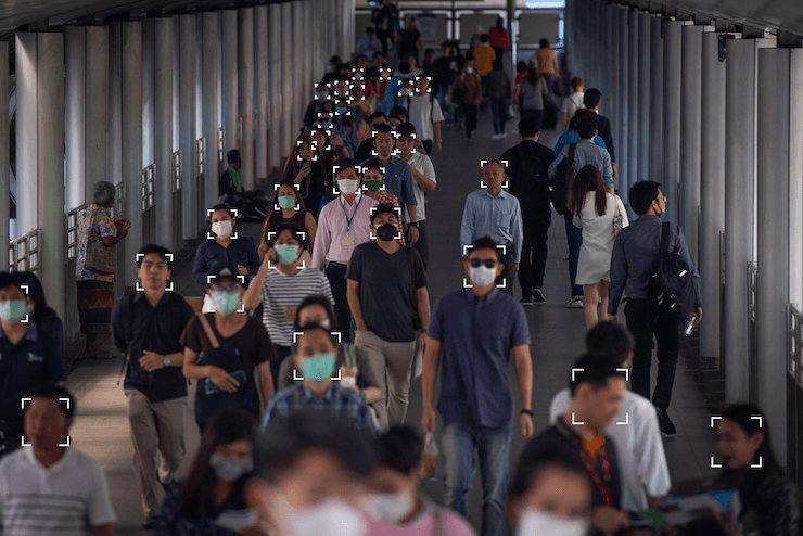 A systems detects people wearing masks